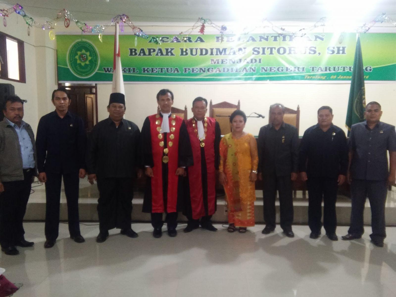 Pengambilan Sumpah dan Pelantikan Budiman Sitorus SH menjadi Wakil Ketua Pengadilan Negeri Tarutung
